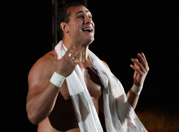 DURBAN, SOUTH AFRICA - JULY 08:  Alberto Del Rio is introduced during the WWE Smackdown Live Tour at Westridge Park Tennis Stadium on July 08, 2011 in Durban, South Africa.  (Photo by Steve Haag/Gallo Images/Getty Images)