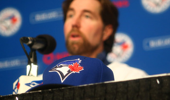 R.A. Dickey brings his knuckleball to the Great White North in 2013.