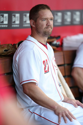 CINCINNATI, OH - AUGUST 17:  Scott Rolen #27  of the Cincinnati Reds watches the action during the game against the Chicago Cubs at Great American Ball Park on August 17, 2012 in Cincinnati, Ohio.  (Photo by Andy Lyons/Getty Images)