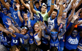 Feb 7, 2013; Durham, NC, USA; Duke Blue Devils fans get pumped up against the North Carolina State Wolfpack before their game at Cameron Indoor Stadium.  Mandatory Credit: Mark Dolejs-USA TODAY Sports