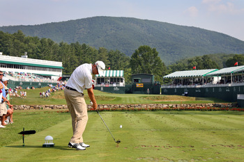 The par three 18th on the Old White TPC at Greenbrier.