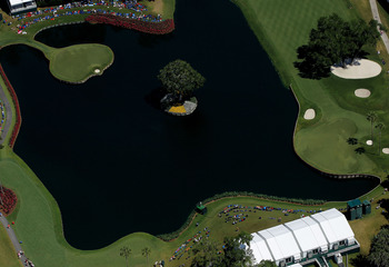 A look from above at the island green 17th at TPC Sawgrass.