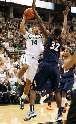 Freshman Gary Harris is the second-leading scorer for the Spartans.
