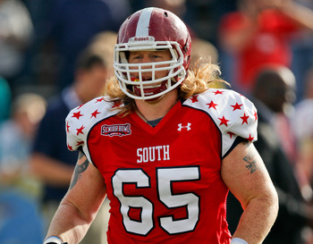 Chadron State offensive guard Garrett Gilkey at the Senior Bowl