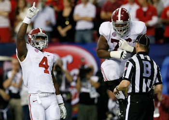 T.J. Yeldon and Chance Warmack celebrate after a touchdown