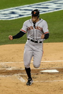 Hunter Pence is fired up after scoring in Game 4 of the World Series.