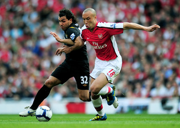 Mikael Silvestre in action for Arsenal.