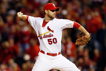 Adam Wainwright throws a pitch against the San Francisco Giants on September 18, 2012.