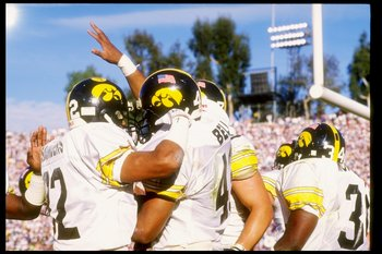 Iowa celebrates a TD in 1991 Rose Bowl game.