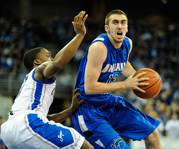 Indiana State's Jake Odum drives to the basket against Creighton in their first meeting.