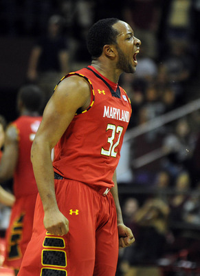 Jan 30, 2013; Tallahassee, FL, USA; Maryland Terrapins guard Dez Wells (32) celebrates after a play during the second half of the game against the Florida State Seminoles at the Donald L. Tucker Center.  Mandatory Credit: Melina Vastola-USA TODAY Sports