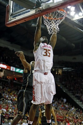 Feb 2, 2013; College Park, MD, USA; Maryland Terrapins forward James Padgett (35) drives for a dunk against the Wake Forest Demon Deacons at Comcast Center. Mandatory Credit: Mitch Stringer-USA TODAY Sports