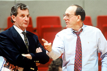 Jim Calhoun and Jim Boeheim matched wits for decades. (AP Photo/Kevin Rivoli)