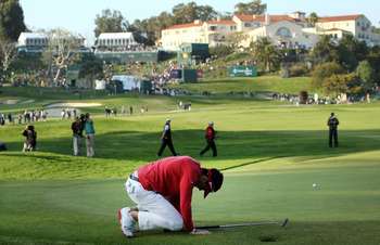The 10th hole at Riviera Country Club can bring a player to his knees.