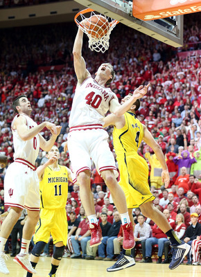 Indiana's Cody Zeller (40) jams the ball against Michigan on February 2.