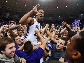 TCU celebrates after upsetting No. 5 Kansas. (Photo: Kevin Jairaj, USA TODAY Sports)