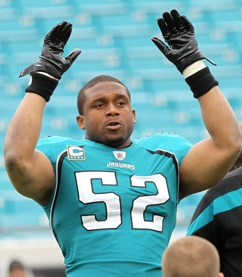 December 11, 2011; Jacksonville FL, USA; Jacksonville Jaguars outside linebacker Daryl Smith (52) before the game against the Tampa Bay Buccaneers at Jacksonville EverBank Field. Mandatory Credit: Kim Klement-USA TODAY Sports