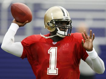Adrian McPherson in the New Orleans Saints' 2006 training camp before joining the Montreal Alouettes.
