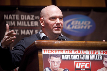 UFC owner Dana White addresses the media