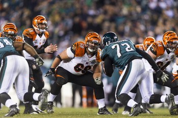 Dec 13, 2012; Philadelphia, PA, USA; Cincinnati Bengals guard Kevin Zeitler (68) blocks Philadelphia Eagles defensive tackle Cedric Thornton (72) during the third quarter at Lincoln Financial Field. The Bengals defeated the Eagles 34-13. Mandatory Credit: