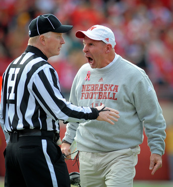 LINCOLN, NE - OCTOBER 29: Nebraska Cornhusker head coach Bo Pelini reacts to a penalty during their game against the Michigan State Spartans at Memorial Stadium October 29, 2011 in Lincoln, Nebraska.  Nebraska defeated Michigan State 24-3. (Photo by Eric