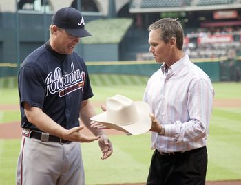 Here Chipper Jones is getting a cowboy hat, so it's going to be kind of like this.