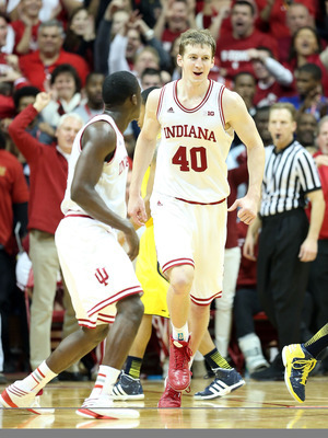Indiana sophomore forward Cody Zeller (40) against Michigan.