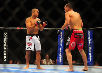 Oct. 29, 2011; Las Vegas, NV, USA; UFC fighter B.J. Penn (left) against Nick Diaz during a welterweight bout at UFC 137 at the Mandalay Bay event center. Mandatory Credit: Mark J. Rebilas-USA TODAY Sports