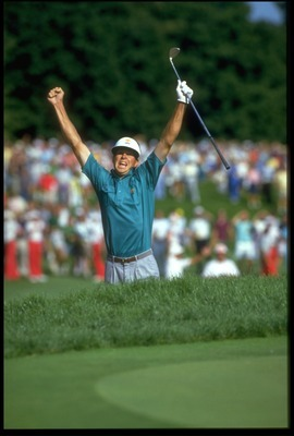 Bob Tway celebrates holed bunker shot that won 1986 PGA Championship.