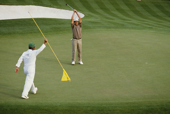 Sandy Lyle made a 10-foot birdie putt to win 1988 Masters after spectacular shot from fairway bunker.