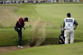Ernie Els made a miraculous bunker shot like this one on the 13th hole in the final round of the Open Championship.