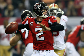 Falcons quarterback Matt Ryan throws a pass against San Francisco in the NFC Championship game on Jan. 20.