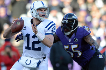 Colts quarterback Andrew Luck looks to throw a pass against Baltimore in the AFC Wild Card playoff round on Jan. 6.