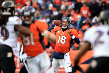 Broncos quarterback Peyton Manning throws a pass against Baltimore in the AFC Divisional playoff round on Jan. 12.