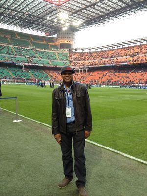 Johnson at the San Siro in March. (Courtesy of his Twitter account)