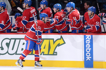 Montreal Canadien David Desharnais celebrates a goal against the Ottawa Senators.
