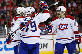 Montreal Canadien Max Pacioretty (right) celebrates a goal.
