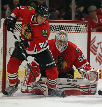Corey Crawford of the Chicago Blackhawks is the only goalie in the NHL who has started more than six games and is undefeated.
