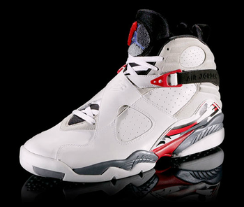 "Featuring a carpeted Jumpman logo and ""criss-cross"" straps, no one had ever seen anything like the Jordan VIII.  Via Nike.com"