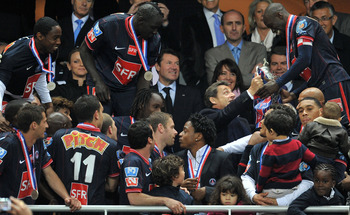 PSG celebrating their Coupe de France win