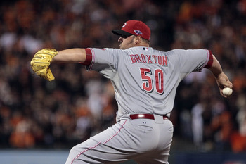 Oct 6, 2012; San Francisco, CA, USA; Cincinnati Reds relief pitcher Jonathan Broxton (50) pitches the ball against the San Francisco Giants during the eighth inning of game one of the 2012 NLDS at AT&T Park.  Mandatory Credit: Kelley L Cox-USA TODAY Sport