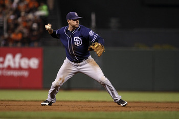 September 22, 2012; San Francisco, CA, USA; San Diego Padres third baseman Chase Headley (7) throws the ball to first base during the fifth inning against the San Francisco Giants at AT&T Park. Mandatory Credit: Kelley L Cox-USA TODAY Sports