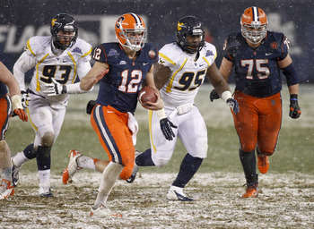Ryan Nassib got a chance to play in the snow at the Pinstripe Bowl.