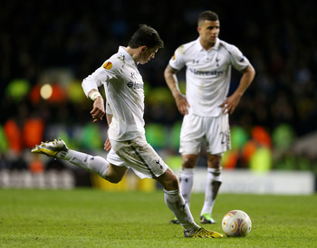 Gareth Bale scores his second free-kick of the night.