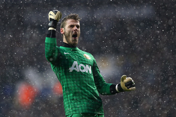 David de Gea celebrating a win vs. Tottenham