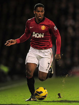 Antonio Valencia running down the wing against Fulham