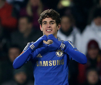 Oscar shows some love after scoring the winning goal.