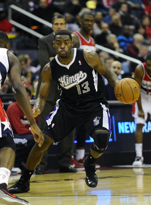 Jan 28, 2013; Washington, DC, USA; Sacramento Kings point guard Tyreke Evans (13) dribbles against the Washington Wizards during the second half at the Verizon Center. The Magic defeated the Wizards 96 - 94. Mandatory Credit: Brad Mills-USA Today Sports