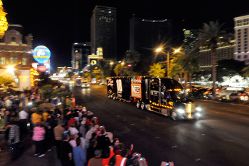 Viva Las Vegas: the hauler parade means NASCAR is back in town.
