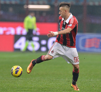 MILAN, ITALY - JANUARY 20:  Stephan El Shaarawy of Milan in action during the Serie A match between AC Milan and Bologna FC at San Siro Stadium on January 20, 2013 in Milan, Italy.  (Photo by Tullio M. Puglia/Getty Images)